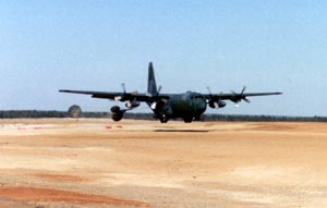 C130 on the landing strip